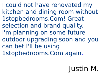 Find a piece of advice in the review left by Justin M. about 1StopBedrooms furniture company